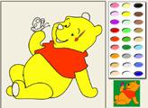 Игра Винни пух с бабочкой - раскраска