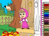 Игра Маша и медведь. Раскраска: Подарок для Маши