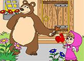 Игра Маша и медведь. Раскраска: Волшебный леденцы