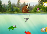 Игра Маша и Медведь. На рыбалке.