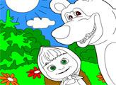 Игра Маша и медведь. Раскраска: Ку-ку