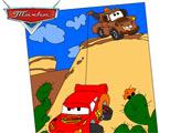 Игра Тачки - Раскраска: Метр спасает друга