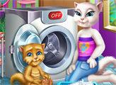 Игра Анджела и Джинджер в прачечной