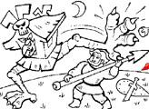 Игра Раскраска: Добрыня Никитич бъется с избушкой Бабы-Яги