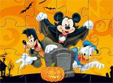 Игра Пазл-пятнашки Развлечения Микки на Хэллоуин