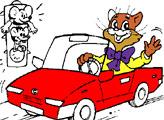 Игра Раскраска: Кот Леопольд в автомобиле