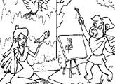 Игра Раскраска: Мишки Гамми - Густо Гамми и портрет Принцессы
