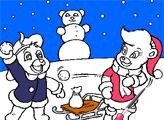 Игра Раскраска: Мишки Гамми - Солнышко Гамми и малыш лепят снеговика