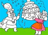 Игра Раскраска: Мишки Гамми - Колдун и Бабушка с пирогом