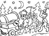 Игра Клад друзей из Простоквашино - Раскраска
