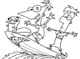 Игра Финес и Ферб на серфе: Раскраска