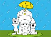 Игра Раскраска: Покойо под дождем