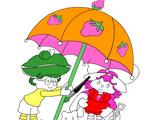 Игра Раскраска: Шарлотта Земляничка под зонтом