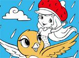 Игра Раскраска: Шарлотта Земляничка на птичке