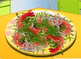 Игра Кухня Сары: Чесночный салат с перцем и креветками