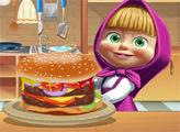 Игра Маша готовит большой бургер