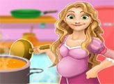 Игра Беременная Рапунцель готовит суп из курицы