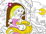 Игра Рапунцель в башне и птички - Раскраска