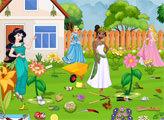 Игра Принцессы убирают сад