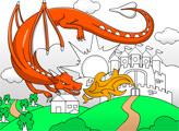 Игра Замок и дракон - раскраска