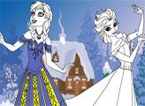 Игра Эльза и Анна - раскраска