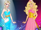 Игра Эльза и Барби на конкурсе красоты