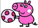 Игра Мячик свинки Пеппы - раскраска