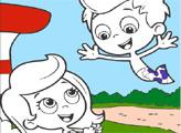 Игра Онлайн раскраска: Гуппи и пузырики