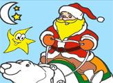 Игра Онлайн раскраска: Санта на прогулке