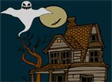 Игра Онлайн раскраска: Хэллоуин и дом с привидениями