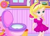 Игра Малышка Эльза в туалете