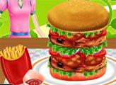 Игра Бургер с жареным мясом и беконом