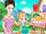 Игра Мама и дочь рисуют