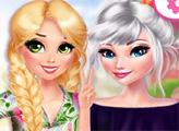 Игра Красивые цветочные наряды Эльзы и Рапунцель